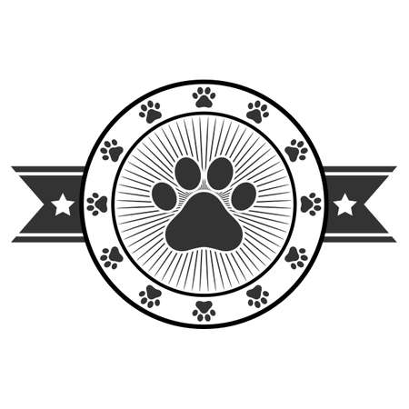 Paw Print Icon  Illustration Design in circle with banner on white background Illustration