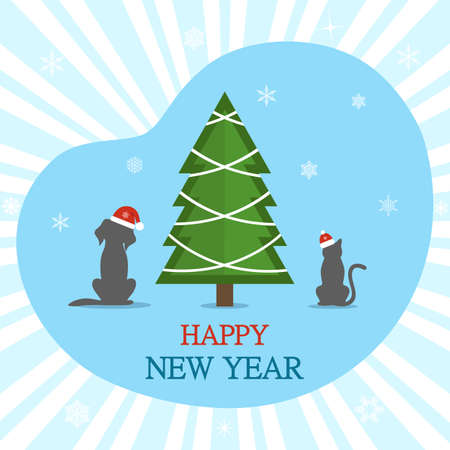 Happy New Year greeting card. Dog and cat under the Christmas tree on a blue background.