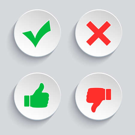set of check and cross icons, finger up and down in a circle
