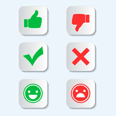 illustration set of signs with a shadow on a blue background. Finger up and down, check mark and crcik, emoticons of emotions. Illustration