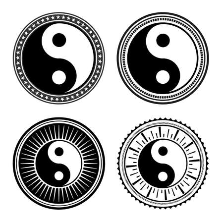 set of hand drawn yin yang signs in a variety of designs on a white background