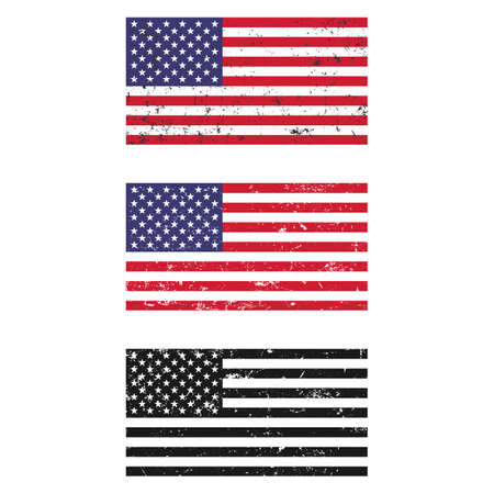 illustration set of american flags in grunge style on white background Illustration