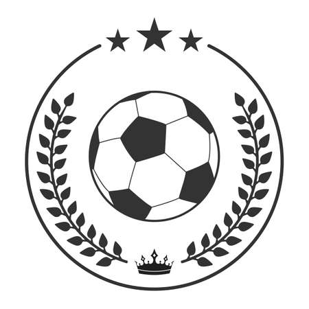 illustration of Soccer ball in laurel wreath with crown. Football championship symbol. Illustration