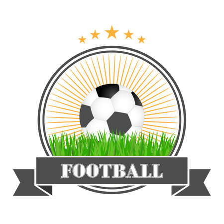 Football  design illustration. Soccer ball in the grass with a banner and a circle. Illustration