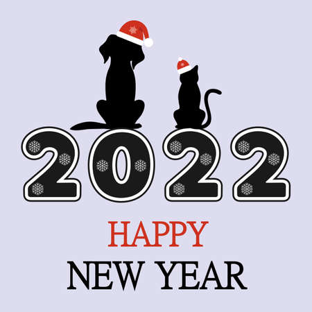 Happy New 2022 Year. Holiday illustration with dog and cat with text. Ilustração