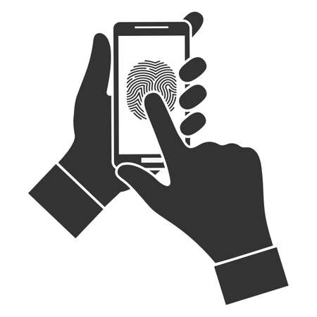 illustration of a mobile phone screen. Fingerprint biometrics.Touch fingerprint id secure identification check on mobile phone in person hand