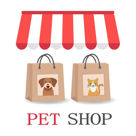 shop for animals on a white background. Retail sale of products for dogs and cats Ilustração
