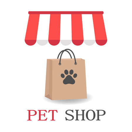 Illustration Pet Shop logo design template. animal icon emblem for store, shelter, business services.
