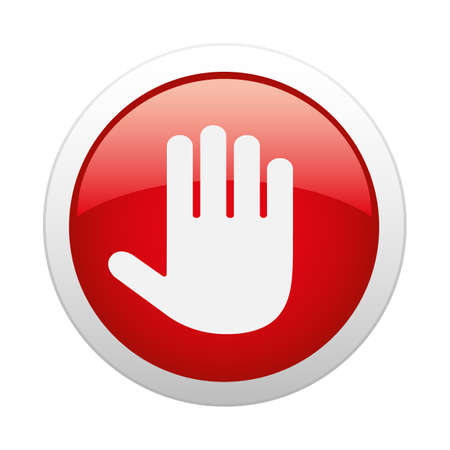 illustration stop sign hand in red button on white background