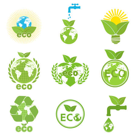 illustration set logo ecology, green energy environment on white background