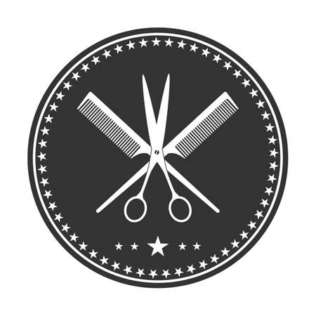 modern creative barber shop logo. scissors with comb in circle with stars