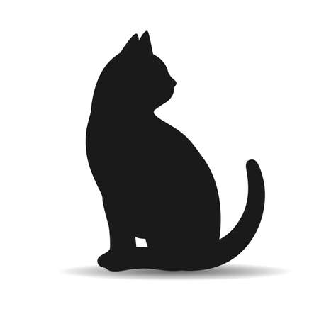 illustration of a silhouette of a black cat with shadow on a white background Ilustração
