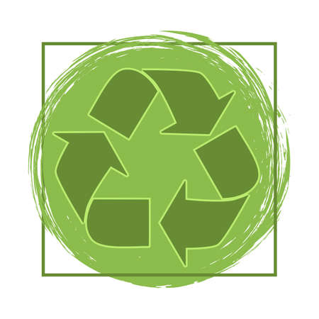 green recycling symbol icon illustration on grunge background Ilustração