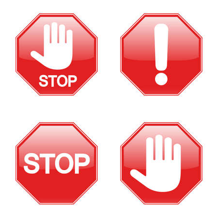 illustration set of prohibiting stop signs on white background