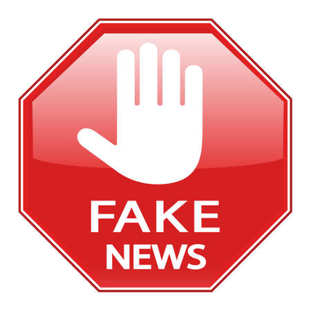 Illustration of Stop Fake News and disinformation in the media sign on a white background
