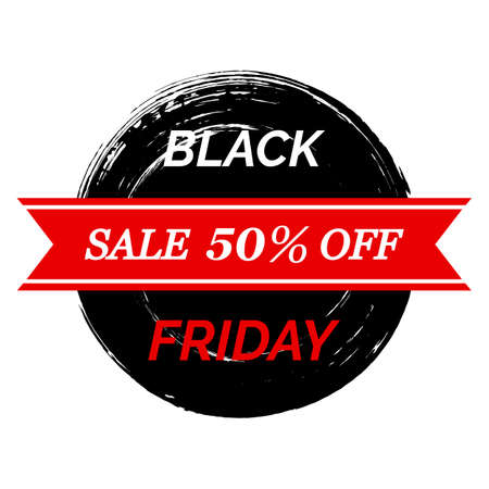 Black Friday inscription on grunge background for sale and discount, template for banner or poster.