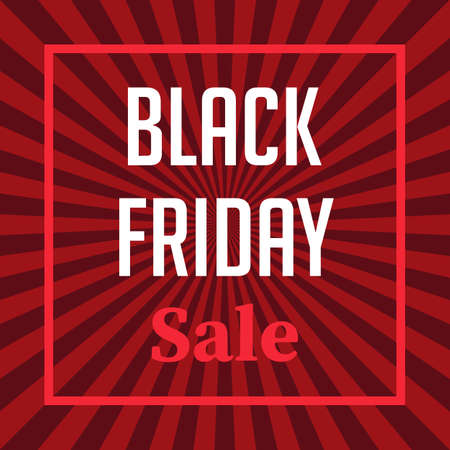 Black Friday sale banner on red background with rays