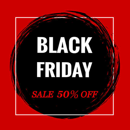 Black Friday logo.Inscription in a black circle on a white background. Ilustração