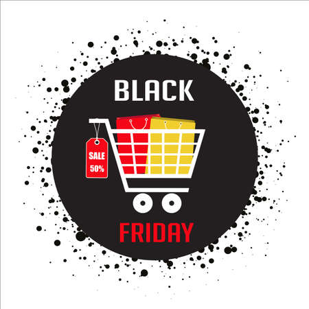 Black Friday sale logo illustration. Cart with packages in black circle on white background Ilustração