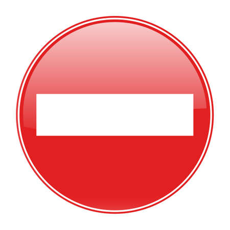illustration Warning red circle icon on white background. Prohibition concept. No traffic street symbol.