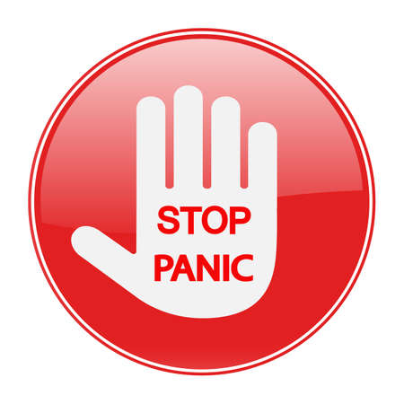 panic stop sign. red warning hand with text on a white background