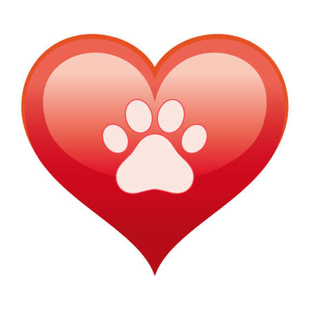 Illustration of a dog's paw in a red heart a white background