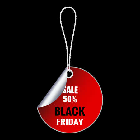 illustration Black Friday sale inscription on price tag. template for your banner or poster. Sale and discount.