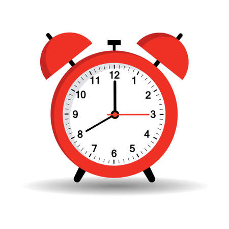 illustration of red alarm clock with shadow on white background