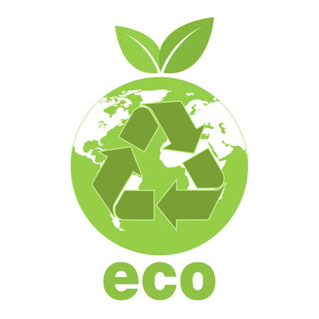 ecology concept illustration. recycling symbol on the background of the globe with green leaves