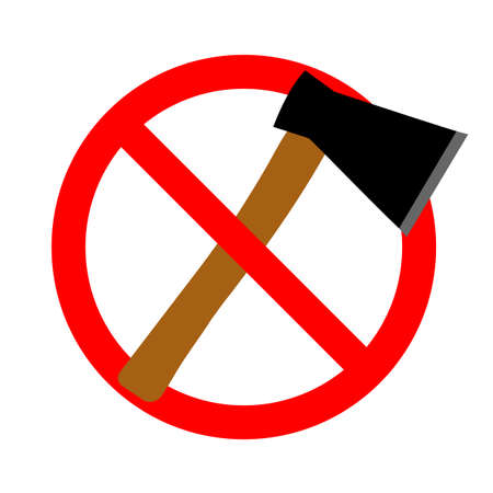 Illustration of a sign prohibited ax in a red crossed out circle on a white background