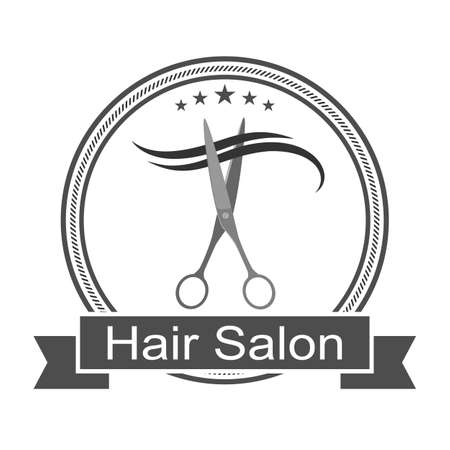 Barber logo with scissors cutting curl of hair in a circle