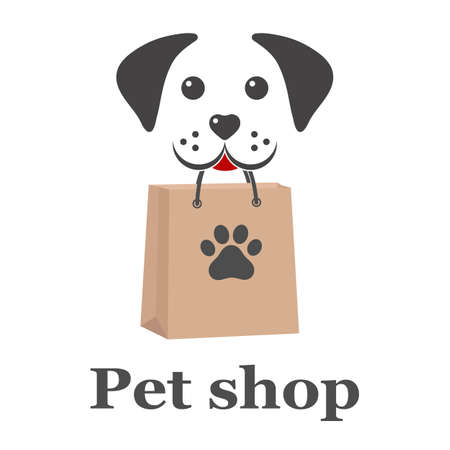 Pet Shop  design illustration. dog icon label for store, veterinary clinic, hospital, shelter, business services.