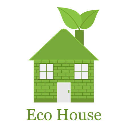 Illustration green house, home with leaf logo template. Emblem for hotels, real estate firms, eco friendly smart houses on a white background.