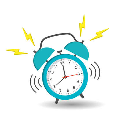 illustration of a blue alarm clock with a call and shadow on a white background