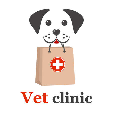 veterinary clinic design illustration. dog icon label for store, clinic, hospital, shelter, business services.