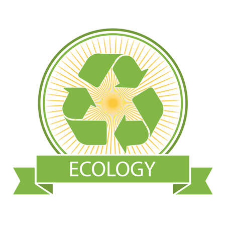 ecology concept illustration. recycling symbol on the background of the sun with banner Ilustração