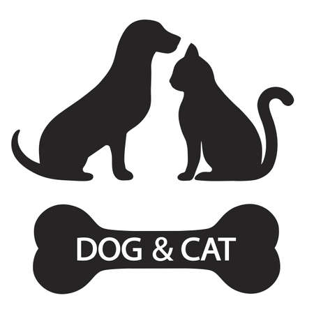 illustration silhouette of dog and cat with bone and text on white background Ilustração