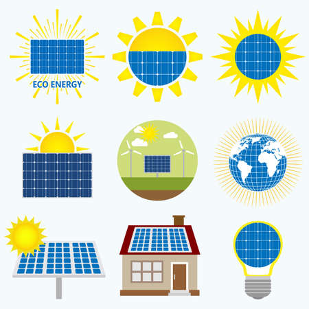 Solar Energy icon illustration template on light background