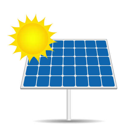 Solar Panel illustration. Green energy, ecology concept on white background