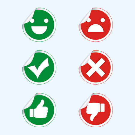 illustration set of signs with a shadow on a blue background. Finger up and down, check mark and crcik, emoticons