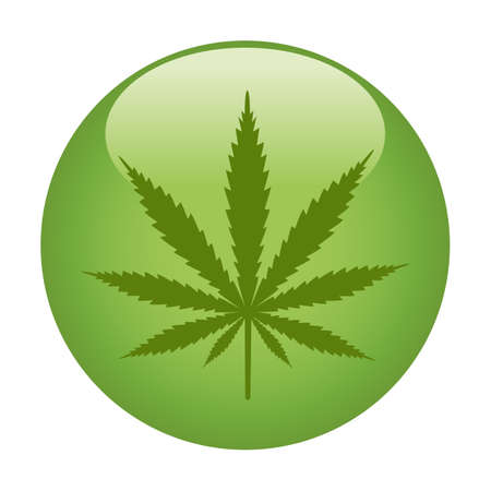 illustration of cannabis leaf in green circle on white background