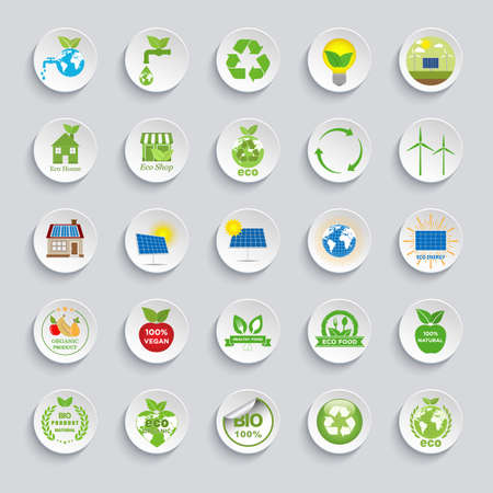 Ecology icons set. Eco friendly flat sign collection.Problems of ecology and environment, renewable energy, friendly industry.