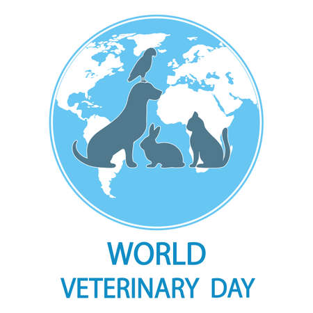 Illustration World Veterinary Day Silhouettes Pets Globe Background
