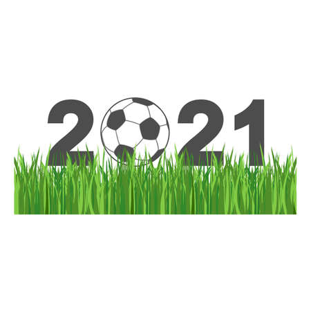 Illustration of a soccer ball on green grass with text.