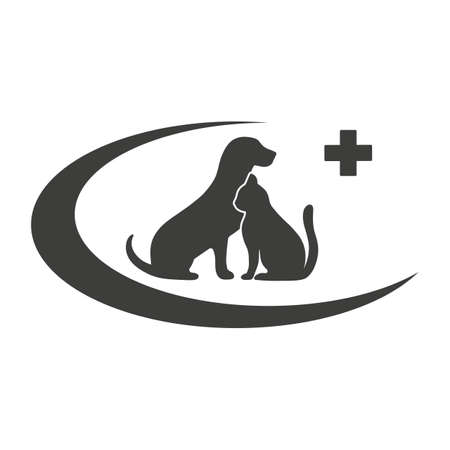 veterinary clinic logo illustration. silhouette of dog and cat with medical cross