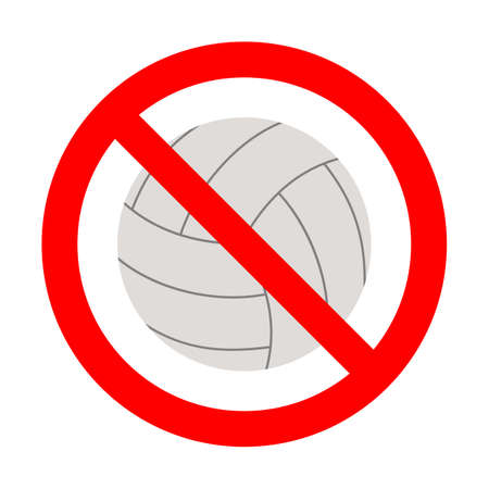 illustration of a prohibited volleyball sign in a red crossed out circle on a white background Ilustração
