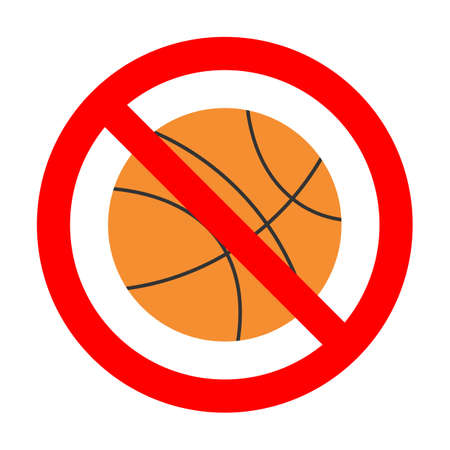 illustration of a prohibited basketball sign in a red crossed out circle on a white background Ilustração