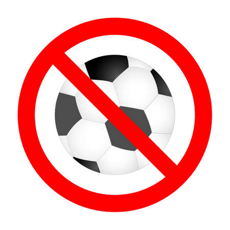 illustration of a prohibited soccer sign in a red crossed out circle on a white background
