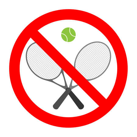 illustration of a prohibited tennis sign in a red crossed out circle on a white background Ilustração