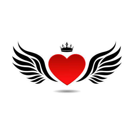 Creative illustration heart with wings and crown on white background Ilustração